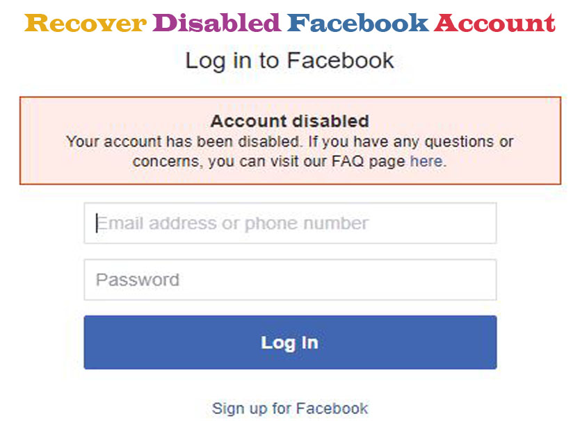Recover Disabled Facebook Account