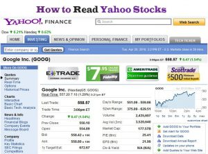 How to Read Yahoo Stocks From Yahoo Finance